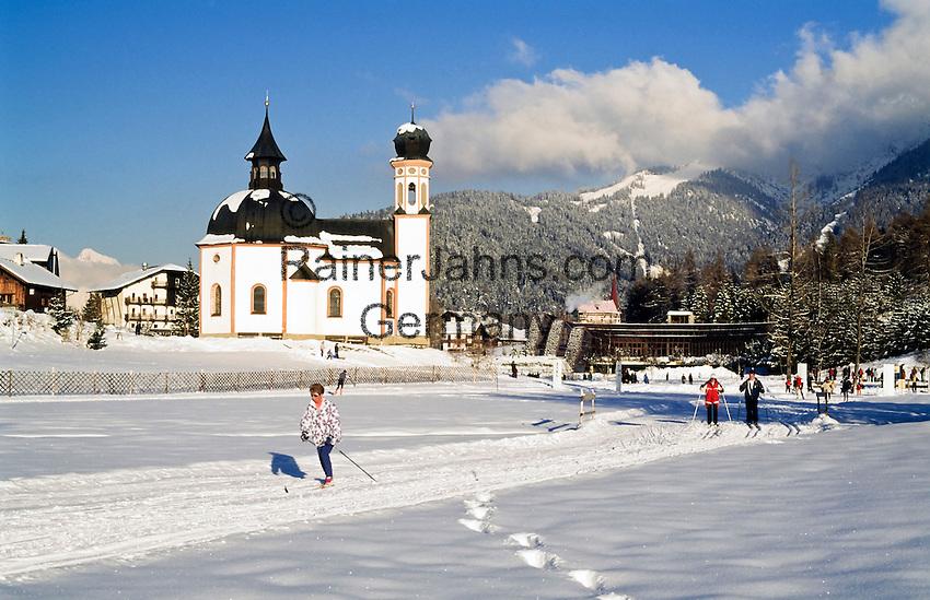 Austria, Tirol, Seefeld, famous Wintersport Resort with Seekirchl church