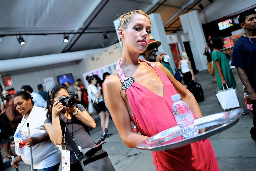 Evian model at the NY Fashion Week at Bryant Park on Sept 05,2008.(Soul Brother For Evian)
