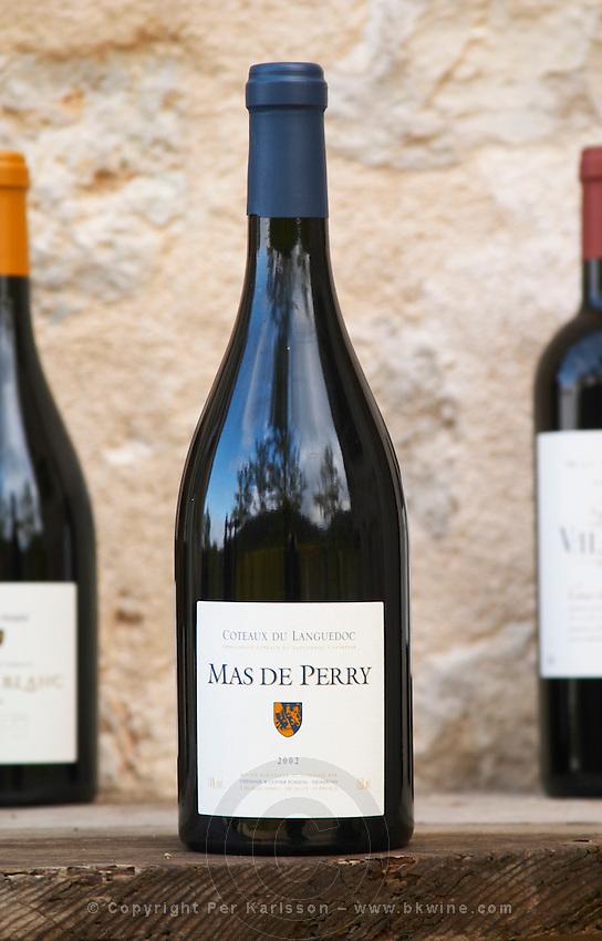 Mas de Perry. Mas de Perry, Mas Nicot. Terrasses de Larzac. Languedoc. France. Europe. Bottle.