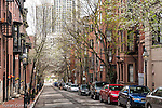 Historic brownstones on Beacon Hill, Boston, Massachusetts, USA