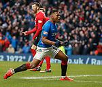 16.03.2019 Rangers v Kilmarnock: Alfredo Morelos celebrates as he scores the equaliser