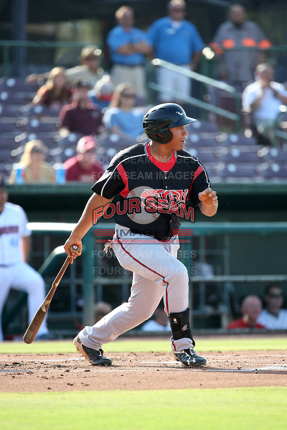 Josh Naylor (32) of the Lake Elsinore Storm bats against the Inland Empire 66ers at San Manuel Stadium on July 31, 2016 in San Bernardino, California. Inland Empire defeated Lake Elsinore, 8-7. (Larry Goren/Four Seam Images)