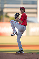 AZL Angels starting pitcher Adrian De Horta (80) delivers a pitch during an Arizona League game against the AZL Diamondbacks at Tempe Diablo Stadium on June 27, 2018 in Tempe, Arizona. The AZL Angels defeated the AZL Diamondbacks 5-3. (Zachary Lucy/Four Seam Images)