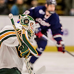 20 January 2017: University of Vermont Catamount Goaltender Stefanos Lekkas, a Freshman from Elburn, IL, in first period action against the University of Connecticut Huskies at Gutterson Fieldhouse in Burlington, Vermont. The Catamounts held onto their lead throughout the game to defeat the Huskies 5-4 in Hockey East play. Mandatory Credit: Ed Wolfstein Photo *** RAW (NEF) Image File Available ***