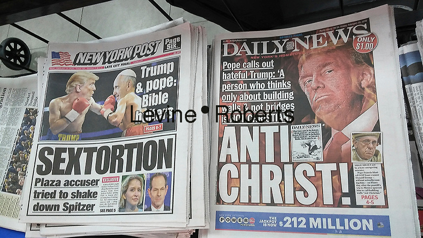 Headlines of the New York Post and New York Daily News on Friday, February 19, 2016 report on the previous day's news of Donald Trump's comments about Pope Francis.  (© Richard B. Levine)