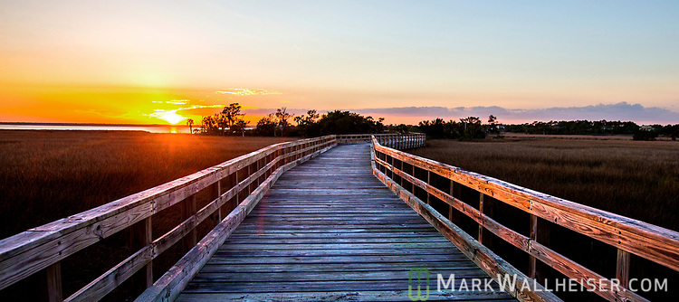 The sun sets on a private island in Wakulla County, Florida along the Forgotten Coast of the north Florida panhandle.