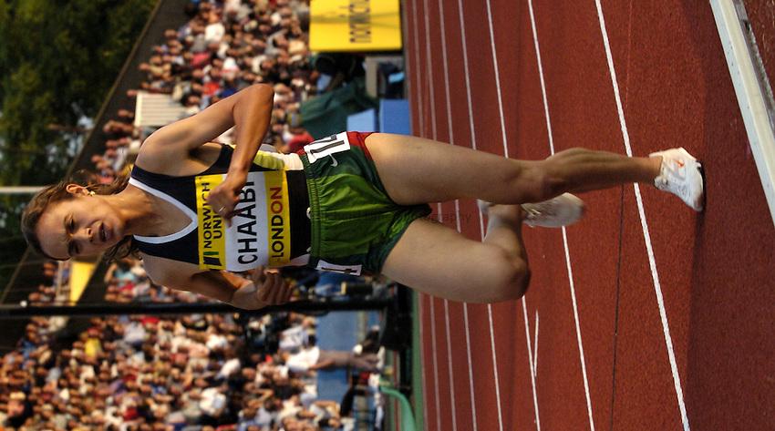 Photo: Richard Lane..Norwich Union London Grand Prix Athletics at Crystal Palace. 30/07/2004..Bouchra Chaabi in the womens 5000m.