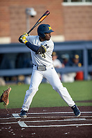 Michigan Wolverines second baseman Ako Thomas (4) at bat against the San Jose State Spartans on March 27, 2019 in Game 2 of the NCAA baseball doubleheader at Ray Fisher Stadium in Ann Arbor, Michigan. Michigan defeated San Jose State 3-0. (Andrew Woolley/Four Seam Images)