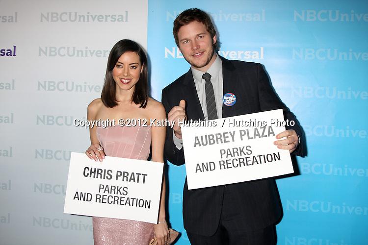 LOS ANGELES - JAN 6:  Aubrey Plaza, Chris Pratt arrives at the NBC Universal All-Star Winter TCA Party at The Athenauem on January 6, 2012 in Pasadena, CA