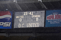 DC United score board shows 15:41 minutes.  The game between DC United and the Houston Dynamo game was postponed due to bad weather on Wednesday June 4, 2008 at RFK Stadium.