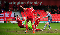 Lincoln City's Anthony Scully scores the opening goal<br /> <br /> Photographer Andrew Vaughan/CameraSport<br /> <br /> The EFL Sky Bet League One - Accrington Stanley v Lincoln City - Saturday 15th February 2020 - Crown Ground - Accrington<br /> <br /> World Copyright © 2020 CameraSport. All rights reserved. 43 Linden Ave. Countesthorpe. Leicester. England. LE8 5PG - Tel: +44 (0) 116 277 4147 - admin@camerasport.com - www.camerasport.com