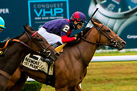 OCTOBER 8, 2018: Lonely Road, ridden by David Cohen, wins the Matron Stakes at Belmont Park on October 8, 2018 in Elmont, NY.  Sue Kawczynski/ESW/CSM