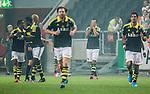 Solna 2014-08-13 Fotboll Allsvenskan AIK - Djurg&aring;rdens IF :  <br /> AIK:s Nabil Bahoui h&aring;ller h&auml;nderna f&ouml;r ansiktet efter att ha jublat vid sitt 1-0 m&aring;l<br /> (Foto: Kenta J&ouml;nsson) Nyckelord:  AIK Gnaget Friends Arena Allsvenskan Derby Djurg&aring;rden DIF jubel gl&auml;dje lycka glad happy
