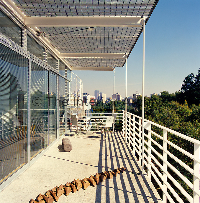 The balcony at the front of the penthouse features artwork by Gabriel Orozco