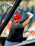 24 July 2012: Washington Nationals rookie outfielder Bryce Harper takes batting practice prior to a game against the New York Mets at Citi Field in Flushing, NY. The Nationals defeated the Mets 5-2 to take the second game of their 3-game series. Mandatory Credit: Ed Wolfstein Photo
