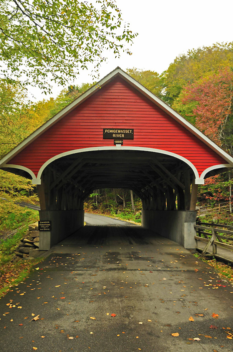 The beautifully kept and oft photographed Flume Covered Bridge spans the Pemigewasset River.