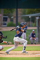 AZL Padres left fielder Angel Santos (14) at bat against the AZL White Sox on July 31, 2017 at Camelback Ranch in Glendale, Arizona. AZL White Sox defeated the AZL Padres 2-1. (Zachary Lucy/Four Seam Images)