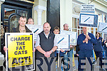 PROTEST: Cormac Williams of the Psychiatric Nurses Association, with Martin O'Grady of the Kerry Public Sector Workers' Alliance, outside John O'Donoghue's clinic in the Arbutus Hotel, Killarney, on Saturday.