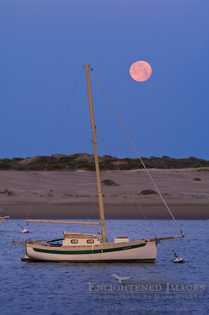 Full moon setting at dawn over sailboats in Morro Bay, California