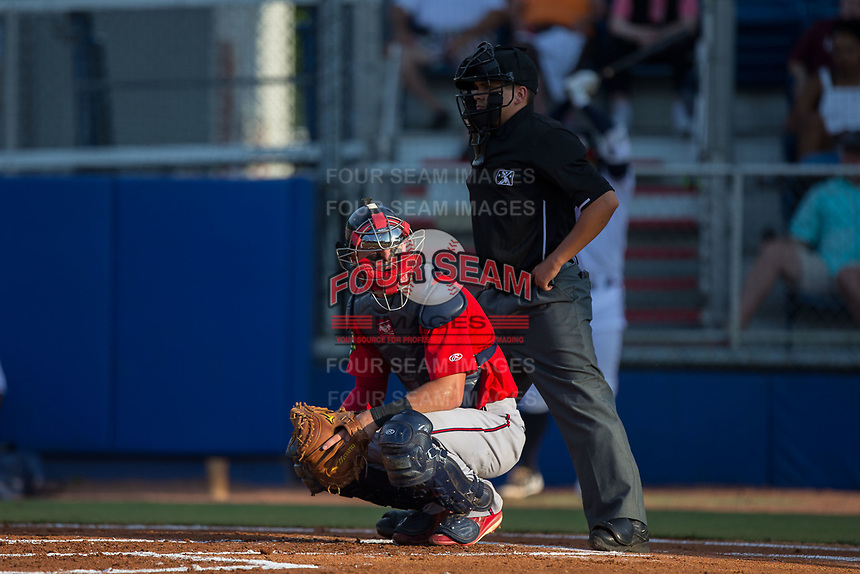 Elizabethton Twins catcher Andrew Cosgrove (4) looks to the dugout for a sign as home plate umpire Josh Gilreath looks on during the game against the Danville Braves at American Legion Post 325 Field on July 1, 2017 in Danville, Virginia.  The Twins defeated the Braves 7-4.  (Brian Westerholt/Four Seam Images)