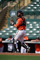 Baltimore Orioles catcher Cody Roberts (55) during a Florida Instructional League game against the Pittsburgh Pirates on September 22, 2018 at Ed Smith Stadium in Sarasota, Florida.  (Mike Janes/Four Seam Images)