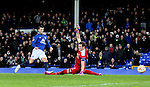 Kevin Mirallas of Everton scores the third goal past Marco Wolfi of BSC Young Boys - UEFA Europa League Round of 32 Second Leg - Everton vs Young Boys - Goodison Park Stadium - Liverpool - England - 26th February 2015 - Picture Simon Bellis/Sportimage