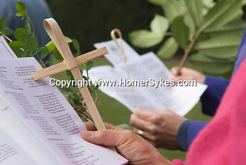 Palm Sunday Cross open air service. St Mary the Virgin Church of England Merton South Wimbledon London UK.