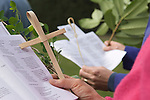 Palm Sunday Cross open air service. St Mary the Virgin Church of England Merton South Wimbledon London UK.