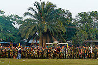 AUC Colombian paramilitary fighters during the rehearsal for the demobilization ceremony in a jungle settlement Casibare, in the Meta Department, Colombia, 9 April 2006.