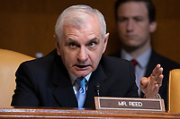 Senator Jack Reed, Democrat of Rhode Island, asks a question to Richard Ashooh, Assistant Secretary For Export Administration at the Bureau of Industry and Security as he testifies during a United States Senate Hearing on the FY 2019 Budget for the Bureau of Industry and Security, the International Trade Administration, and the United States International Trade Commission on Capitol Hill in Washington, DC on September 6, 2018. Credit: Alex Edelman / CNP /MediaPunch