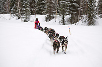 Molly Yazwinski travels on the trail just prior to the Finger Lake checkpoint during the 2008 Iditarod Sled Dog Race