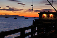 Sunrise, pier, Port San Luis, Avila Beach, California
