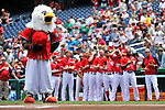 10 July 2011: The Washington Nationals mascot Screech honors America during the playing of the National Anthem prior to a game against the Colorado Rockies at Nationals Park in Washington, District of Columbia. The Nationals shut out the visiting Rockies 2-0 salvaging the last game their 3-game series at home prior to the All-Star break. Mandatory Credit: Ed Wolfstein Photo