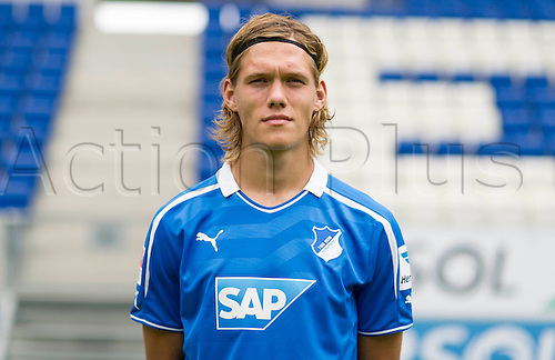 11.07.2013. Sinsheim, Germany.  Player Jannik Vestergaard of German Bundesliga club TSG 1899 Hoffenheim during the official photocall for the season 2013-14  in the Rhein-Neckar-Arena in Sinsheim (Baden-Wuerttemberg).