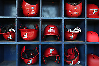GREENSBORO, NC - FEBRUARY 22: Fairfield University batting helmets during a game between Fairfield and UNC Greensboro at UNCG Baseball Stadium on February 22, 2020 in Greensboro, North Carolina.