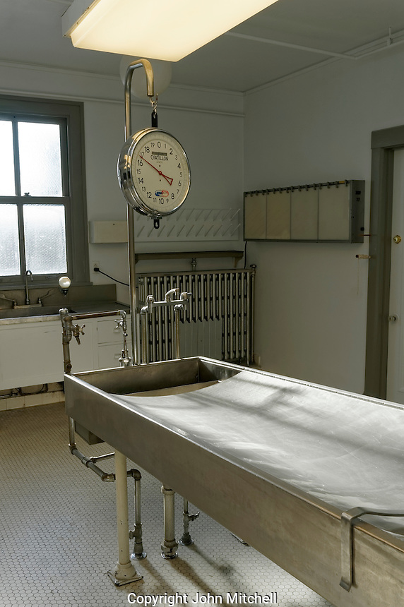 Examination table in autopsy room of former Vancouver city morgue, now the Vancouver Police Museum, Vancouver, BC, Canada