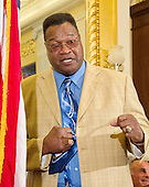 Former World Heavyweight Champion Larry Holmes shows his style as he makes remarks at a press conference to discuss the observational study on the brain health of active and retired professional fighters on Capitol Hill in Washington, DC on Tuesday, April 26, 2016.  The study, led by researchers from the Cleveland Clinic, is  designed to better identify, prevent and treat Chronic Traumatic Encephalopathy (CTE.)<br /> Credit: Ron Sachs / CNP
