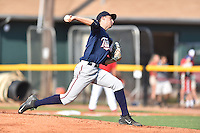 Elizabethton Twins starting pitcher Ryan Mason (12) delivers a pitch during a game against the Johnson City Cardinals at Howard Johnson Field at Cardinal Park on June 26, 2016 in Johnson City, Tennessee. The Twins defeated the Cardinals 13-12. (Tony Farlow/Four Seam Images)