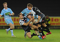 Glasgow Warriors' Nick Grigg is tackled by Ospreys' Tom Habberfield<br /> <br /> Photographer Kevin Barnes/CameraSport<br /> <br /> Guinness Pro14 Round 8 - Ospreys v Glasgow Warriors - Friday 2nd November 2018 - Liberty Stadium - Swansea<br /> <br /> World Copyright &copy; 2018 CameraSport. All rights reserved. 43 Linden Ave. Countesthorpe. Leicester. England. LE8 5PG - Tel: +44 (0) 116 277 4147 - admin@camerasport.com - www.camerasport.com