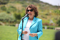 May 3 2019. Carlsbad, CA. |Rabbi Dr. Laurie Coskey of Chavurah Kol Haneshamah  talks at Community Call to Action Led by Community Leaders and Local Elected Officials in Response to Poway Shooting held at Alga Norte Community Park in Carlsbad. | Photos by Jamie Scott Lytle. Copyright.