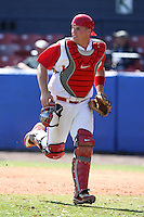March 23, 2010:  Catcher Dan Burkhart of the Ohio State University Buckeyes during a game at the Chain of Lakes Stadium in Winter Haven, FL.  Photo By Mike Janes/Four Seam Images