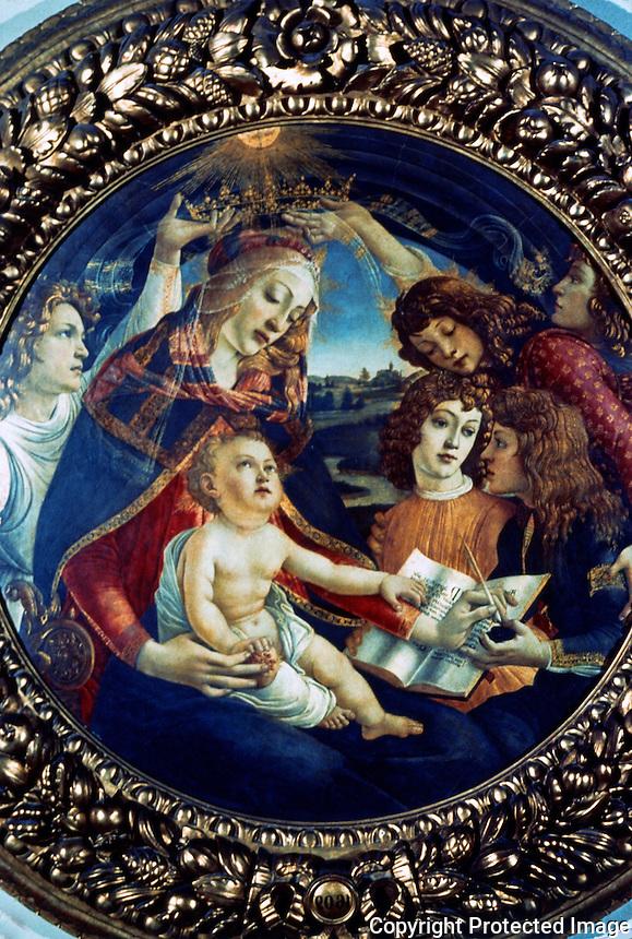 Renaissance Art:  Sandro Botticelli (1445-1510)--Our  Lady of the Magnificat.  Galleria Uffizi.