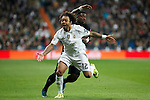Real Madrid´s Marcelo Vieira (R) and Paris Saint-Germain´s Serge Aurier during Champions League soccer match between Real Madrid  and Paris Saint Germain at Santiago Bernabeu stadium in Madrid, Spain. November 03, 2015. (ALTERPHOTOS/Victor Blanco)