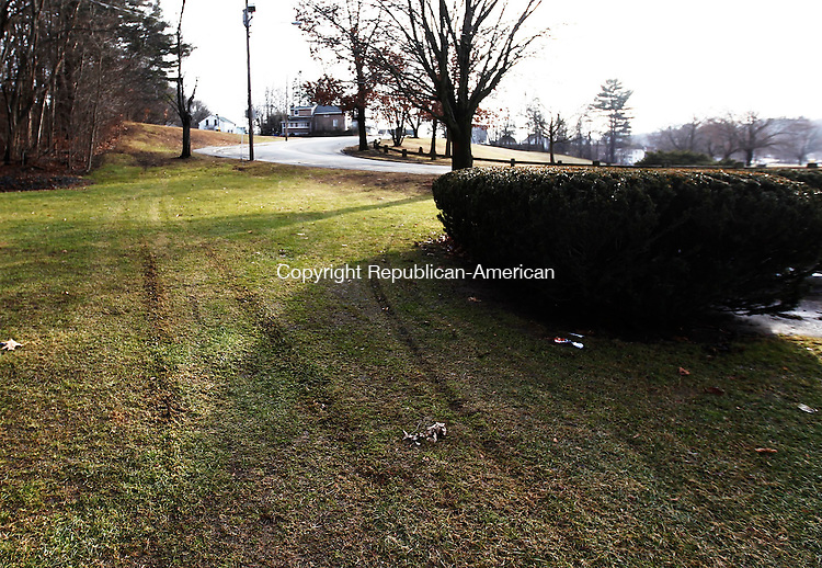 Waterbury, CT- 15 January 2014-011514CM04-  What appears to be tire impressions are left near the entrance to a ball field on Boyden Street in the Waterville Wednesday afternoon.  A quad was said to have caused the damage to the fields.    Christopher Massa Republican-American