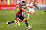 Rayo Vallecano´s Insua (R) and Barcelona´s Leo Messi during La Liga match between Rayo Vallecano and Barcelona at Vallecas stadium in Madrid, Spain. October 04, 2014. (ALTERPHOTOS/Victor Blanco)