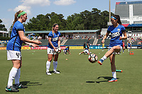 Cary, North Carolina  - Saturday June 03, 2017: Maegan Kelly, Caroline Flynn, and Erika Tymrak prior to a regular season National Women's Soccer League (NWSL) match between the North Carolina Courage and the FC Kansas City at Sahlen's Stadium at WakeMed Soccer Park. The Courage won the game 2-0.