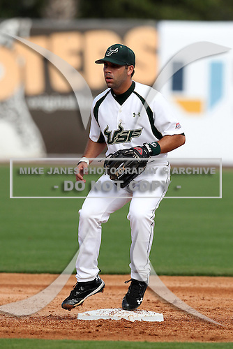 "University of South Florida Peter Brotons #13 during a game vs. the Miami Hurricanes in the ""Florida Four"" at George M. Steinbrenner Field in Tampa, Florida;  March 1, 2011.  USF defeated Miami 4-2.  Photo By Mike Janes/Four Seam Images"