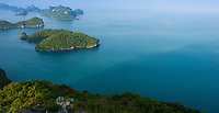 Aerial view of Ko Wua Talap and other small islands in Ang Thong national marine park, Thailand