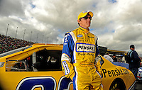 Oct. 3, 2009; Kansas City, KS, USA; NASCAR Nationwide Series driver Parker Kligerman during the Kansas Lottery 300 at Kansas Speedway. Mandatory Credit: Mark J. Rebilas-