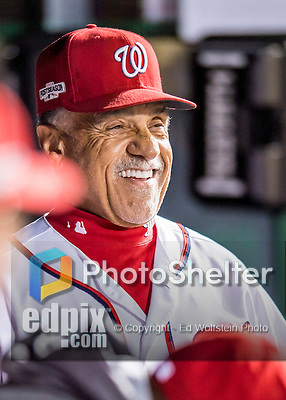 13 October 2016: Washington Nationals first base coach Davey Lopes looks out from the dugout prior to Game 5 of the NLDS against the Los Angeles Dodgers at Nationals Park in Washington, DC. The Dodgers edged out the Nationals 4-3, to take Game 5 of the Series, 3 games to 2, and move on to the National League Championship Series against the Chicago Cubs. Mandatory Credit: Ed Wolfstein Photo *** RAW (NEF) Image File Available ***